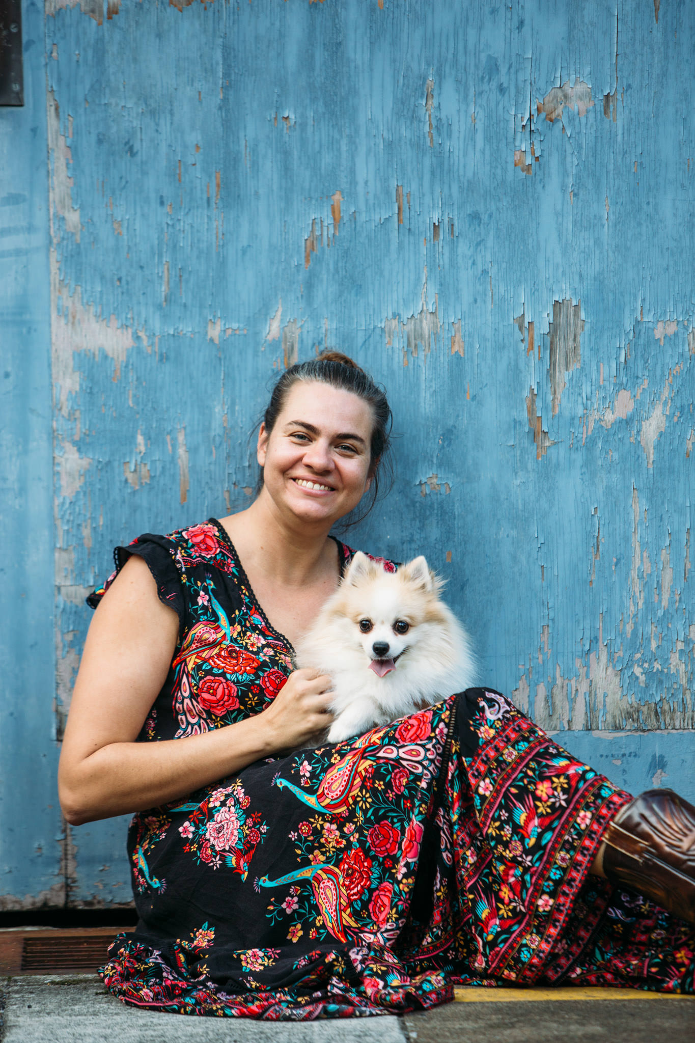 Brisbane Wedding Photographer for Natural Photography Lara Furst holding Duke the dog